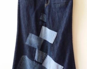 Women's Reconstructed DENIM MAXI Skirt with Denim PATCHWORK, Size 10/12