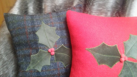 Hand Crafted Harris Tweed Christmas Holly Cushion Cover