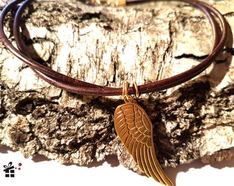 Leather Choker ~ golden wing ~.