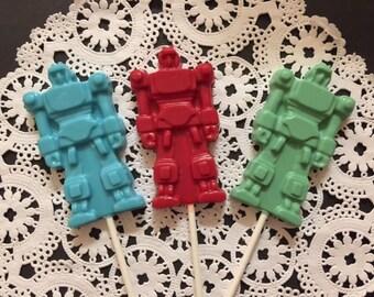ROBOT TRANSFORMER Chocolate Lollipop(12 qty)-ROBOT Birthday/Space Party/Transformer Party/Birthday Party/Chocolate Transformer/Transformers