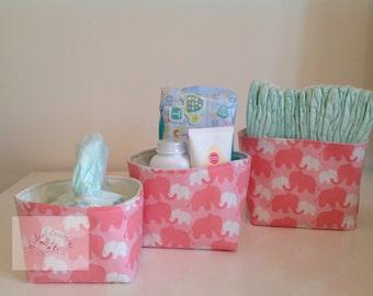 Fabric Storage Box Set - Pink Elephants