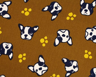 """Boston Terrier Face Oxford Fabric made in Japan, Dog Fabric / Half Yard 45cm by 108cm or 18"""" by 43"""""""