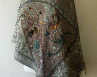 Handembroidered India Wool Shawl