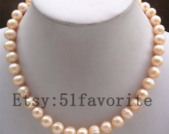 Pearl necklace- Genuine cultured huge 10-11mm white fresh water pearl party wedding necklace