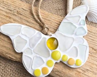 Fab yellow sea glass 'butterfly' hanger handmade in Cornwall