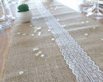 Burlap table runner and lace by the yard - Lucy Jeanne Collection - wedding Decoration