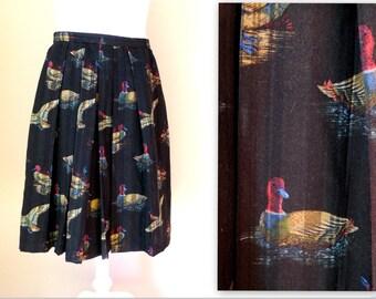 Long wool skirt Plus size Trachten Dirndl black pleated skirt duck print birds traditional Austrian dirndl size L - XL US 14