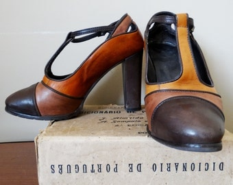 Womens leather shoes brown Mary Janes high heel shoes with ankle strap genuine leather shoes women Vintage 1970s size 36 US 6