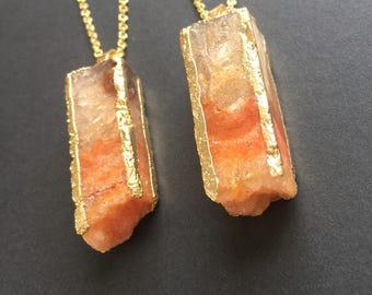 Druzy necklace Orange column druzy Agate pendant Crystal Druzy