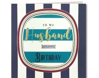 New Breton Collection - Husband on your Birthday - Happy Birthday Husband - Husband Birthday Card -  Laura Darrington Design - BR39
