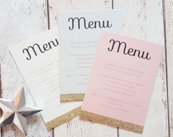 Gold Glitter Wedding Menu Cards. Recycled Soft Pink, Pale Grey and Cream / Ivory. Handmade with Glitter Dipped Edge Detail. Pack of 10.