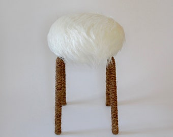 White Faux Fur Stool with Rope Wrapping ~ Mid Century Modern Rustic Bohemian Style
