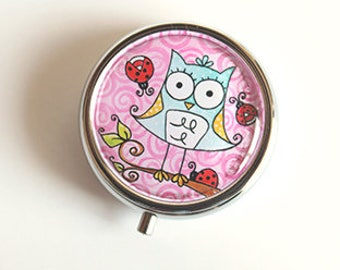 box pill with mirror 2 inches, round, pill box, pink ladybugs OWL