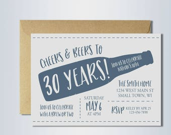 30th birthday invitation | cheers and beers | cheers to 30 years | beer party | digital invitation template