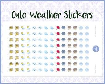 112 Cute Weather Stickers | Diary Stickers | Journal Stickers | Planner Stickers - Erin Condren, Happy Planner, Kikki K, Filofax