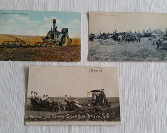 3 antique post cards 1909 to 1911 - plowing cutting & threshing - north and south dakota - bristol steam tractor farming vintage equipment
