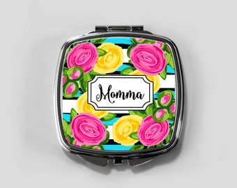 Personalized Mirror Case - Roses - Compact Mirror Case Gifts for Her Monogrammed Gifts Perfect Spring Accessory