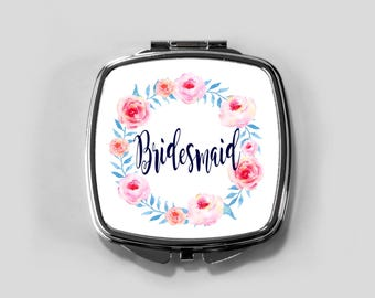 Personalized Mirror Case -  Pink Rose Wreath - Compact Mirror Case Gifts for Her Monogrammed Gifts Perfect Spring Accessory