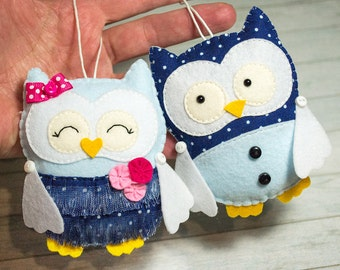Kawaii gift Owl figurine Owl ornament Girlfriend gift Owl baby shower Navy kids room decor Stuffed animals Cute wife gift Valentines gift