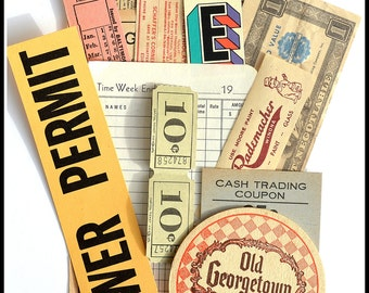 Assorted Neutral Vintage Papers / Tickets / Labels - Vintage Ephemera