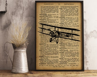 Airplane Print, Airplane Dictionary Art Print, Airplane decor vintage style, Pilot Gift, Aviator Gift,  Airplane wall art (A20)