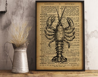 Lobster Rustic Kitchen Wall Art Decor Lobster Print Vintage Style Cook Room Sea Resturaunt Decor Christmas Gift for Chef R31