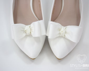 Shoe Clips, Satin Bow Shoe Clips, Satin Shoe Clips, Bridal Shoe Clips, Wedding Shoe Clips, Shoe Clips for Wedding Shoes