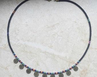 Coin necklace turkish tughra kuchi evil eye black