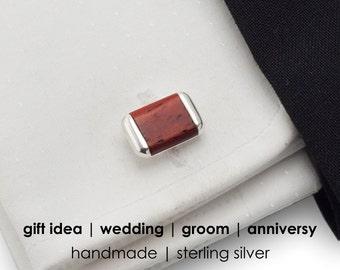 Red cufflinks | Sterling Silver | Mahogany wood, Wood cufflinks, Handmade, Ggift for men, Anniversy Gifts, Wedding Cufflinks,Groom Cufflinks
