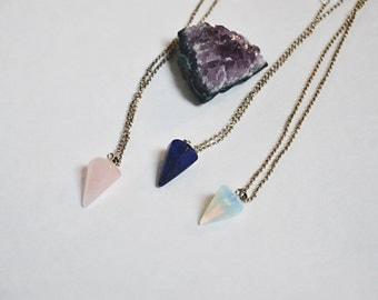 Natural Crystal Pendulum Geometrical Necklace
