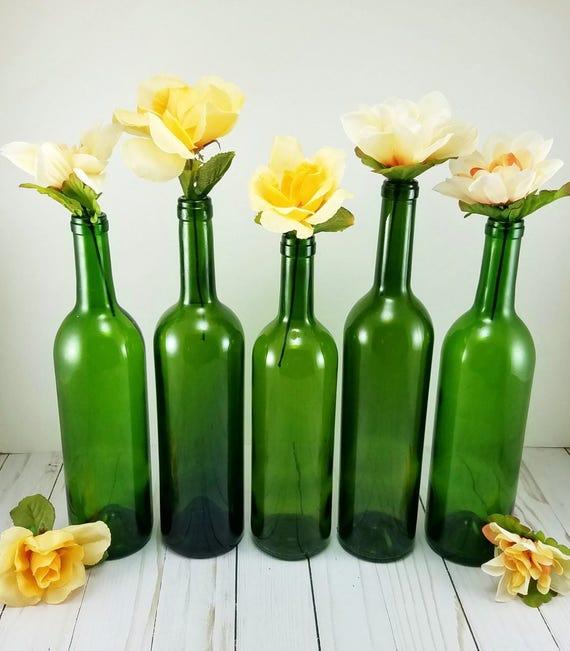 Green wine bottle vases set of 6 empty wine bottle vases for Green wine bottles