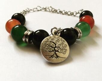Zen agate and tree of life beaded bracelet