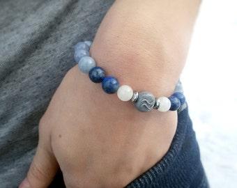 Aquarius bracelet Aquamarine Unisex Aquarius jewelry February Birthday gift for Aquarius Zodiac bracelet Lapis lazuli Moonstone bracelet