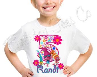 Customized Trolls Birthday Shirt Add Name & Trolls Custom Birthday Party Tee