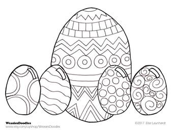 PDF Printable Colouring Page: Easter Eggs