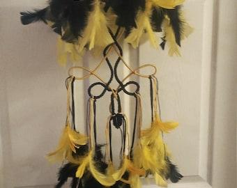Black & Yellow Dreamcatcher Mobile- Size M 005