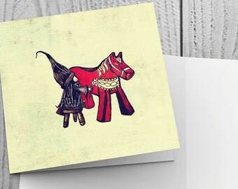 Christmas Card with Tomte Painting Dala Horse design - 148mm x 148mm