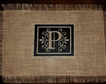 Elegant initialed placemat