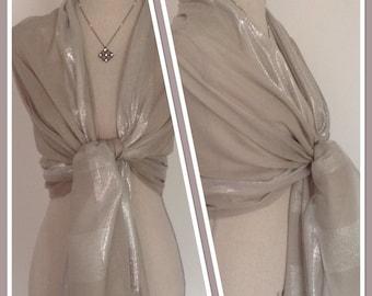 Grey Silver Lurex Thread Sheen Wrap Shawl Weddings Races Gift Idea