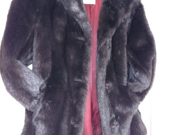 20% OFF/XL Faux Fur Mink Jacket/Brown Faux Fur Jacket/Vintage Faux Mink Jacket/Winter XL Fur Jacket/Faux Fur Jacket/ Item. Nr.152