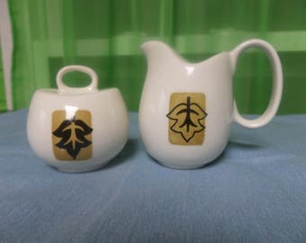 Unusual 1970's White Ceramic Salt and Pepper Shakers with Simple Leaf Design