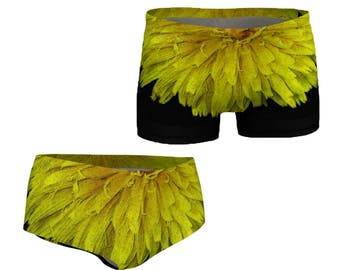 Floral Workout Shorts Gym Clothes Stretch Shorts Yoga Clothing Spandex Exercise Running Fitness Sportsware Swim Mini Dandelion Black Yellow