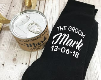Groom Socks In a Can Wedding Morning Gift Personalised Socks and Tin