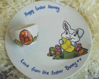 Easter plate and egg cup