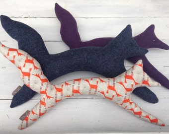 Fox Dog toy  ,  choice of fabric or Pure new Wool.....Made to Order