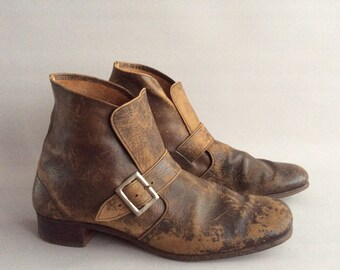 1930's /1940's Vintage Brown Leather Ankle boots Size 6 uk