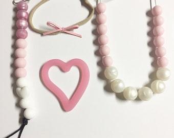 Silicone Teething Necklace- Nursing Necklace, Pearl Teethin Necklace, Mama Bear Necklace