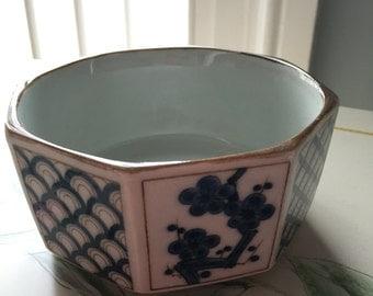 Vintage Unique Blue Floral Japanese Ceramic Bowl/ terrarium dish/planter