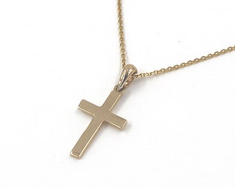 14K Solid Gold Cross Pendant Necklace Gold Cross Necklace Religious Necklace