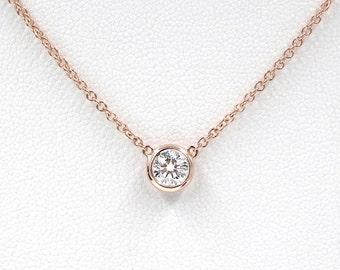 Diamond Necklace, Brilliant Cut 0.50 Ct. Diamond Bezel Set Necklace, Diamond Solitaire Necklace, Minimalist Necklace